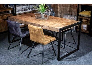 Esszimmertisch Boxar, rechteckiger Holztisch in dunklem Braun und einem massiven Metallgestell in schwarz