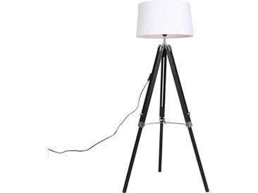Industrie Stehlampe schwarz mit weißem Leinenschirm 45 cm -