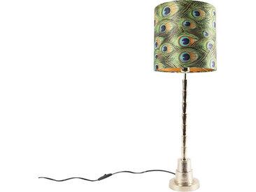 Art Deco Art Deco Tischlampe Gold mit Pfau Design Schatten 25 cm