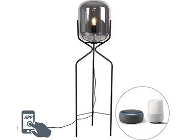 Design Smart Stehlampe schwarz inkl. WiFi A60 Rauchglas - Bliss
