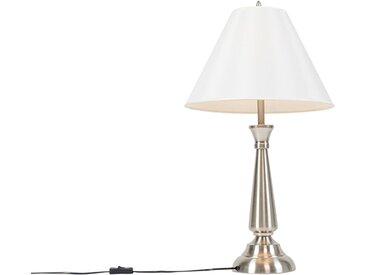 Klassisch / Antik Klassische Tischlampe Stahl mit cremefarbenem