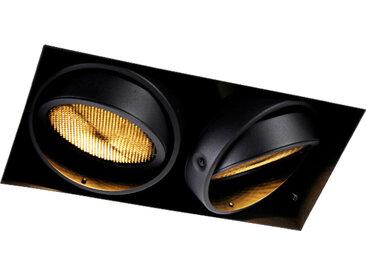Modern Einbau Spot schwarz 2-Licht GU10 AR111 Trimless - Oneon
