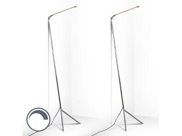 Design,Modern 2er Set Design Stehleuchte Chrom inkl. LED - Lazy
