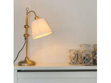 Klassisch / Antik Klassische Tischlampe Bronze mit weißem Schirm