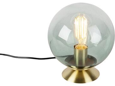 Art Deco Art Deco Tischlampe Messing mit grünem Glas - Pallon E27