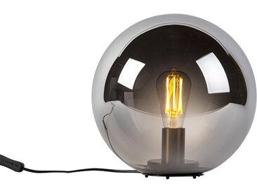Art Deco Art Deco Tischlampe schwarz mit Rauchglas 30 cm - Pallon
