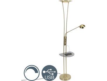 Modern Goldene Stehlampe mit Lesearm inkl. LED und USB-Anschluss