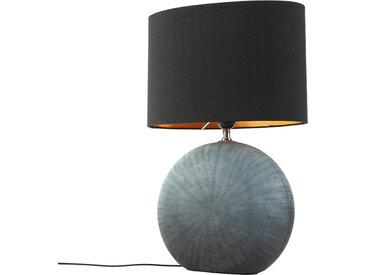 Landhaus / Rustikal Country Tischlampe blau mit schwarzem Schirm