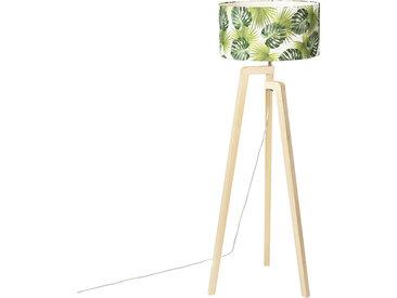 Modern Stehlampe Stativholz mit Schattenblatt - Puros E27