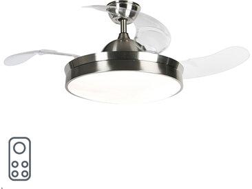 Modern Deckenventilator Stahl inkl. LED und Fernbedienung - Xiro