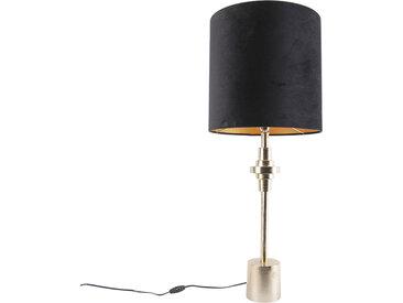 Art Deco Art Deco Tischlampe Gold Samtschirm Schwarz 40 cm -