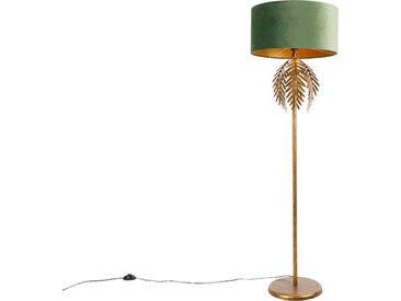 Landhaus Vintage goldene Stehlampe mit grünem Samtschirm -
