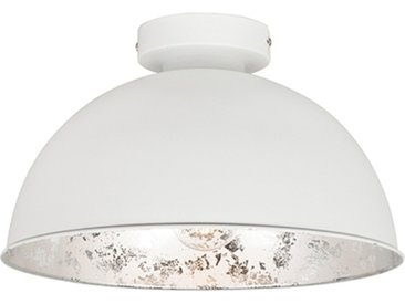 Landhaus / Rustikal Weiße Deckenlampe mit Silber 30 cm - Magna