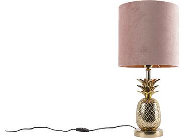 Art Deco Botanische Tischlampe Gold mit Veloursschirm Pink 25 cm