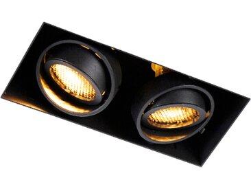 Modern Einbau Spot schwarz 2-Licht drehbar und kippbar Trimless -