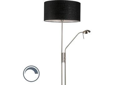 Modern Stehleuchte Stahl und schwarz mit verstellbarem Lesearm -