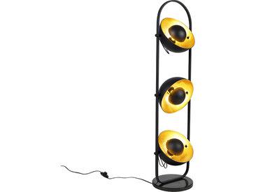 Modern Industrielle Stehlampe schwarz mit goldenen 3-Lichtern -