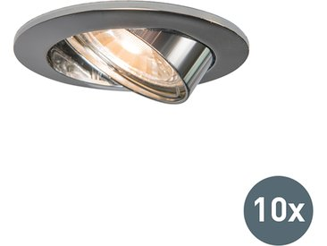 Modern 10er Set Einbaustrahler Chrom kippbar - Edu GU10
