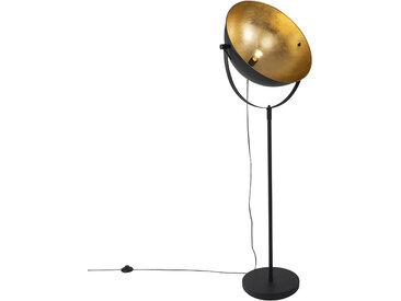 Industrie Industrie Stehlampe schwarz 50 cm mit Gold verstellbar