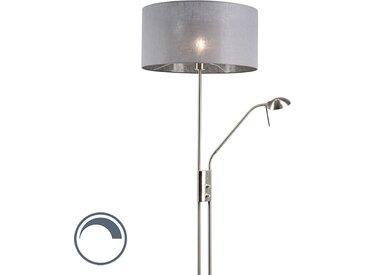 Modern Stehlampe Stahl und Grau mit verstellbarem Lesearm - Luxor