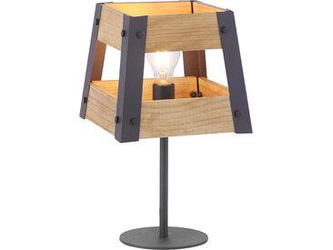 Landhaus Industrielle Tischlampe schwarz mit Holz - Kiste E27