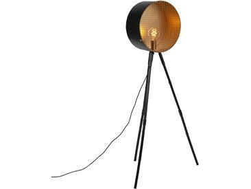 Retro Vintage Stehlampe auf Bambusstativ schwarz mit Gold - Fass