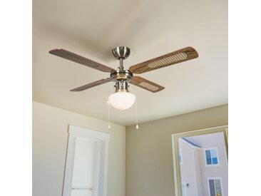 Retro Industrieller Deckenventilator mit Lampe 100 cm Holz - Wind