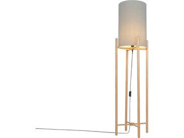 Landhaus Land Stehlampe Holz mit grauem Schirm - Lengi E27