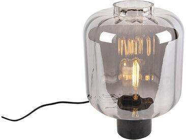 Design Design Tischlampe schwarz mit Rauchglas - Qara E27