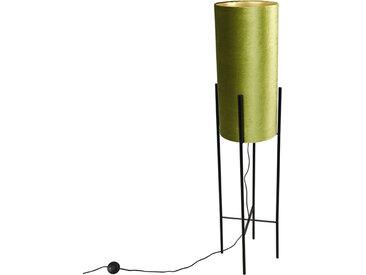Modern Design Stehleuchte mit Samtschirm grün/gold - Rich E27