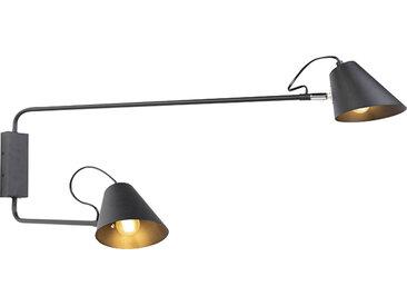 Retro Design Wandleuchte schwarz 2-Licht einstellbar - Lune E27