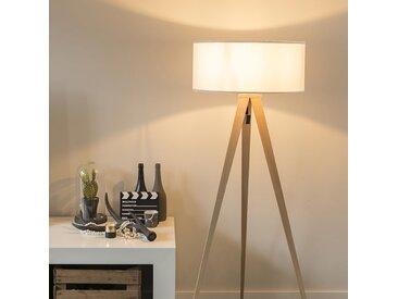 Modern Moderne Stehleuchte Holz mit weißem Schirm - Tripe E27