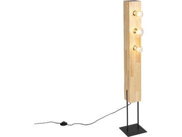 Modern Country Stehleuchte schwarz mit 3-Licht Holz - Sema E27