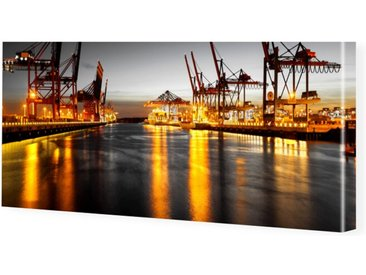 Hamburg Panorama Leinwand Bild als Panorama im Format 80 x 40 cm