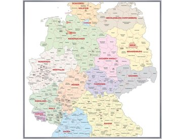 Deutschlandkarte Poster im Plastikrahmen in silber im Format 30 x 20 cm