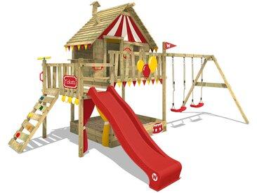 Spielturm Klettergerüst Smart Trip mit Schaukel & roter Rutsche, Stelzenhaus mit Sandkasten, Kletterleiter & Spiel-Zubehör - Wickey