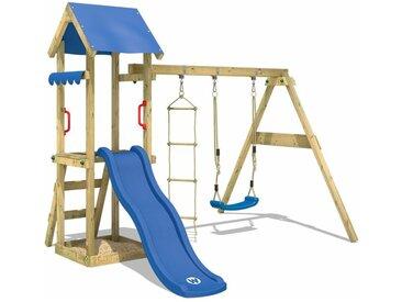 WICKEY SUPERSALE Spielturm Klettergerüst TinyCabin mit Schaukel & blauer Rutsche, Kletterturm mit Sandkasten, Leiter & Spiel-Zubehör