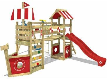 WICKEY SUPERSALE Spielturm Klettergerüst StormFlyer mit Schaukel & roter Rutsche, Baumhaus mit Sandkasten, Kletterleiter & Spiel-Zubehör