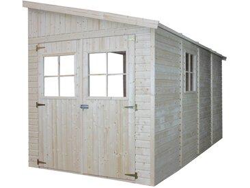Timbela - Holz Gartenschuppen (ohne Seitenwand) - Abstellkammer mit Fenstern - H244x211x416 cm/8 m2 Naturholz-Shiplap-Schuppen - Gartenwerkstatt - Fahrrad- Geräteschuppen M340