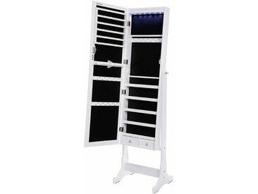 Schmuckschrank Spiegelschrank abschließbar mit LED Beleuchtung 154cm hoch JBC94W