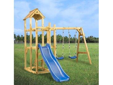 Hommoo Spielturm mit Rutsche Schaukel Leiter 285 x 305 x 226,5 cm DDH36113