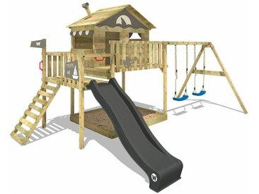 WICKEY SUPERSALE Spielturm Klettergerüst Smart Coast mit Schaukel & anthraziter Rutsche, Stelzenhaus mit Sandkasten, Kletterleiter & Spiel-Zubehör