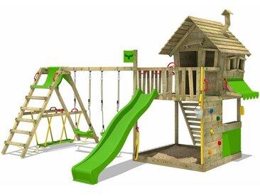 FATMOOSE MEGA SALE Spielturm Klettergerüst GroovyGarden mit Schaukel SurfSwing & apfelgrüner Rutsche, Spielhaus mit Sandkasten, Leiter & Spiel-Zubehör