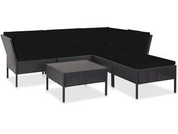 6-tlg. Garten-Lounge-Set mit Auflagen Poly Rattan Schwarz