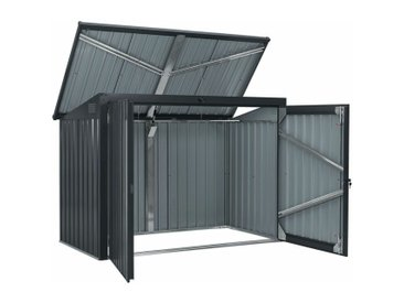 Juskys Mülltonnenbox Namur 1,9m² Aufbewahrungsbox in grau für 2 Tonnen zwei abschließbare Türen Metall Mülltonnenverkleidung Müllbox