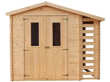 Holzhaus Gartenhaus mit Brennholzschuppen TIMBELA M386C+M386G - Gartenschuppen Holz mit Boden Imprägnierte B272xL206xH218 cm/ 3,53 + 0,97 m2 Lagerschuppen für Garten - Fahrrad Schuppen - Wasserfestes Dach