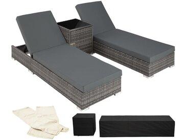 2 Sonnenliegen Rattan mit Aluminiumgestell und Tisch inkl. Schutzhülle - Gartenliege, Liegestuhl, Relaxliege - grau