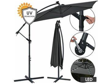 Juskys Ampelschirm Brazil 350 cm grau – mit LED-Beleuchtung Solar & Kurbel – UV-Schutz wasserabweisend knickbar – Sonnenschirm Marktschirm