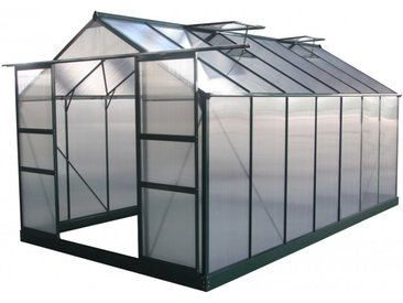 Gewächshaus 13,2m² grün, Doppelstegplatten aus Polycarbonat 4mm + Fundament Green Protect