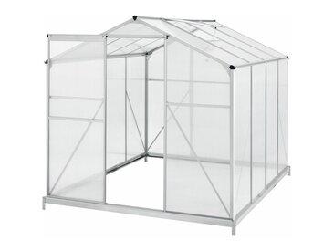 Aluminium Gewächshaus mit Fundament für Garten   4,75 qm   190 × 253 cm   1 Dachfenster & Schiebetür   4 mm Platten   Juskys